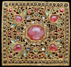 Buckle, late 18th-19th century. Diamonds, emeralds, gold, gold plate, and rubies