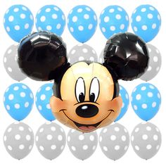 Birthday Party Baby Shower Supplies Mickey Mouse Blue Polka dots Foil balloons #Anagram #BabyShower