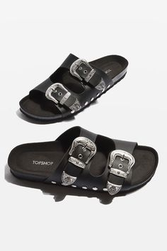 Buckles aren't just for belts – as proven by these super-cool PU sliders that feature Western-inspired stud detail. Easy to slip on, they're perfect to team with a dress for an effortless summer look.