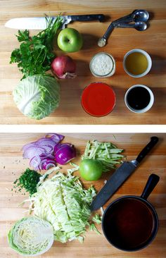 apple cabbage slaw. Slice cabbage, apple and onion into thin slices. Chop parsley. Mix together in a bowl with cider vinegar and salt and pepper. Marinate in the fridge for a few hours.