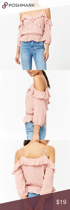 NWT Forever 21 Cold Shoulder Top Brand new with tags and online packaging. Forever 21 rose cold shoulder shirt with ruffles. Looks adorable on.   Check out my closet for more Forever 21 and other name brand clothing! Forever 21 Tops Blouses