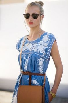 \\ mexican-embroidered sleeveless chambray dress w/russet braided leather belt and natural leather shoulder bag