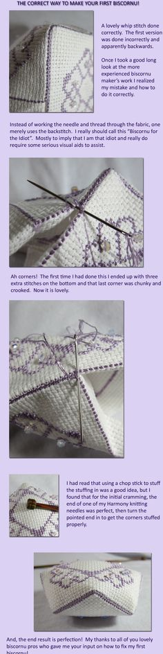 GENIUS way to join two seams - make running stitches, then simply whip them together! This could work as an alternative to the blanket stitch, provided you gave yourself enough extra material. (Also apparently The Correct Way to Make Your Biscornu)
