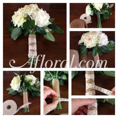 How to make a rustic bouquet wrap with crochet lace and burlap ribbon. #DIYbouquet #DIYwedding #weddingbouquet #afloral #afloralbouquet Shop wedding flowers, flower supplies, wedding decorations at Afloral.com