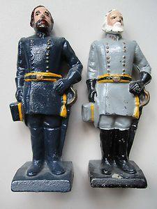 Cast Iron Civil War General Grant & Lee Statues Door Stops