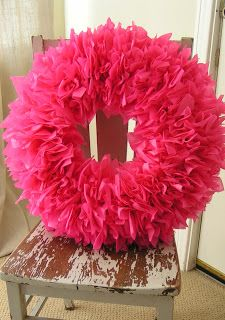 Tissue Paper Wreath - Easy to add little wired ornaments, etc. Just stick them right into the styrofoam form. Simple and easy tissue paper wreath tutorial. How to make a gorgeous tissue paper wreath in these few simple steps. Wreath Crafts, Diy Wreath, Tulle Wreath, Burlap Wreaths, Wreath Making, Wreath Ideas, Cute Crafts, Diy Crafts, Arts And Crafts