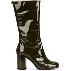 Marios vinyl mid-calf boots (1 393 AUD) ❤ liked on Polyvore featuring shoes, boots, green, green boots, mid calf boots, vinyl boots, calf length boots and mario boots