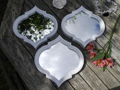 Set of 3 White Moroccan Style Wall Hung Mirrors 25cm x 25cm Bathroom Bedroom
