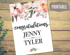 Printable Personalized Wedding Card - Instant Download Customizable Bohemian Floral Wedding Congratulations Card - PDF Card Template
