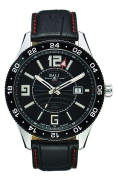 Men's BALL 'Engineer Master II Pilot GMT' Leather Strap Watch, 44mm
