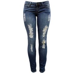 Skinny Distressed Jeans by Forever 21 - Juniors Clothing > Sale >... ($13) ❤ liked on Polyvore