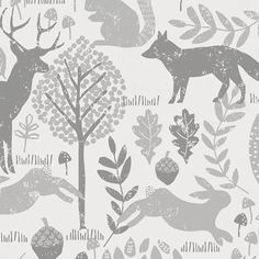 Gray Woodland Animals Fabric by Carousel Designs.  Go back to nature with this fun woodland theme design. Featuring all your favorite woodland animals from precious deer to playful squirrels and fuzzy bunnies. Printed in soft tones of gray on an antique white background and perfect for your special nursery.