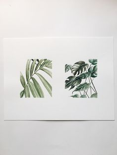 Watercolor Greenery Squares by Shealeen Louise