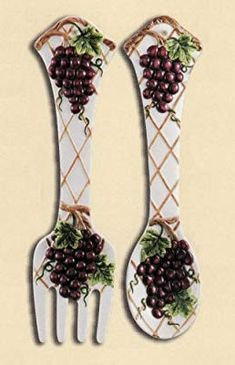 grapes and wine kitchen decor cabinet sets 181 decorating ideas tuscan amazon com grape 2 pc large 17 spoon fork wall set new rests dining