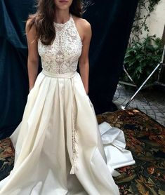 Unique white lace long prom gown, white evening dress, modest prom dress