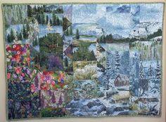 Landscape Art Quilt  Alpine Spring by TweedlesDee on Etsy, $165.00
