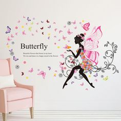 Flower Girl Removable Wall Art Sticker Vinyl Decal DIY Room Home Mural Decor for sale online Girls Wall Stickers, Removable Wall Stickers, Butterfly Wall Stickers, Sticker Vinyl, Vinyl Art, Vinyl Room, Decoration Stickers, Wall Stickers Home Decor, Wall Stickers Murals