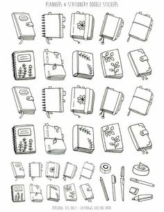Bullet Journal Mood, Bullet Journal Ideas Pages, Bullet Journal Inspiration, Bullet Journals, Sticker Printable, Free Printable, Planner Doodles, Black And White Stickers, Book Drawing