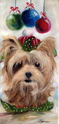 SPARROW Yorkshire Terrier Gift YORKIE ELF Dog Christmas holiday Ornaments art Bid Now