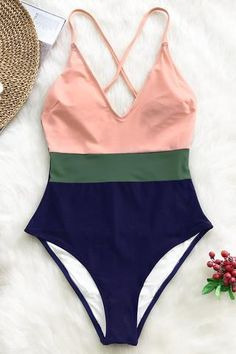 The pink, green and navy Color Block One-Piece Swimsuit exudes a sophisticated vibe. It has adjustable shoulder straps that crisscross at the back and a shelf bra with padded cups for additional support. Cute Swimsuits, Two Piece Swimsuits, Women Swimsuits, One Piece Swimsuit, Bathing Suit Bottoms, Cute Bathing Suits, Bikini Mode, Lingerie Fine, Womens Fashion