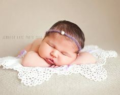 "crocheted ""doily"" type prop  baby girl beaded headband - newborn photography prop"