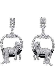 http://rubies.work/0946-multi-gemstone-pendant/ Panthere De Cartier. Awesome pave panthers on onyx and diamond drop hoops. Gorg!