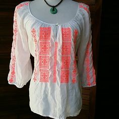 """Neon Boho!! So soft and comfy! Neon coral embroidery on cool top. 100% Modal 20"""" across chest lying flat, 24"""" long Tops Blouses"""