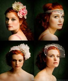 I am inspired. Bridal hair accessories - bird cage veil, white flower headband and other hair accessories.