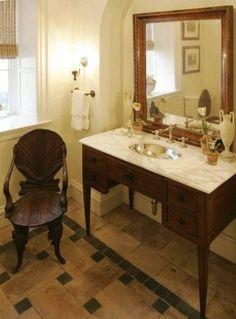 antique furniture as vanity - love it.  www.yournestdesign.blogspot.com