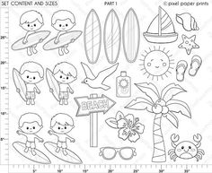 Surfer boys Digital Stamps Clipart