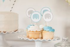 Elephant Cupcake Toppers Elephant Baby Shower by sparkanddelight