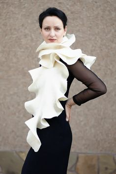Felted ivory long ruffles luxurious  shawl wrap scarf