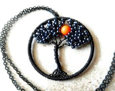 Tree of life Neon Moon Necklace Pendant por CandiSuesCreations