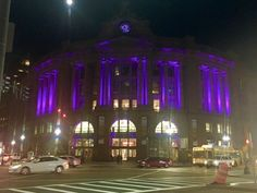 Several Massachusetts landmarks are illuminated in purple to honor Prince.
