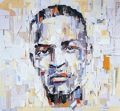 T.I. by Ian Wright (paper collage portrait) Rap Album Covers, Greatest Album Covers, Collage Portrait, Collage Art, Portraits, Newspaper Collage, Face Collage, Oil Portrait, Portrait Paintings