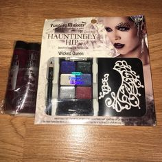 Fantasy makers wet n wild makeup Halloween set Brand new never used or opened. Wicked queen Fantasy makers wet and Wild set 6 glitters, black eyeliner and stencil. Throwing in Two bottles of fake blood never used as well. Makeup