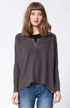 Vibes Long Sleeve Henley T-Shirt