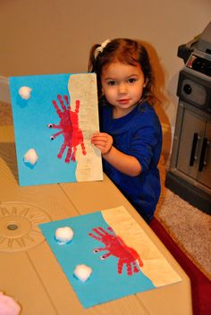 crab craft for the summer, ocean themes etc  no directions but the picture show two red hand prints with google eyes on thembs, cotton ball clouds on blue paper with tan paper for sand repinned by Charlotte's Clips http://pinterest.com/kindkids/crafting-creativity-charlotte-s-clips/