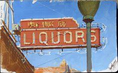 Neon Sign, Salida, Colorado. Gouache by James Gurney