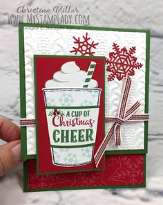 Create a unique fold for your Merry Cafe coffee cup. This fun fold has the focal piece hanging over the short card front. Christmas Cards 2017, Stampin Up Christmas, Christmas Paper, Xmas Cards, Diy Cards, Noel Christmas, Unique Christmas Cards, Holiday Cards, Coffee Mugs