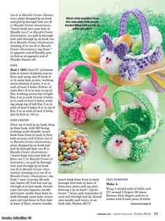 Crochet Pattern - easter crafts for kids: crochet bunny basket - crafts ideas - crafts for kids