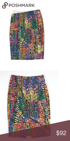 "Marimekko- Multi-Color Geo Print Cotton Pencil Skirt Sz 8 Size 8 (EU 36) Multi-Color Geo Print Pencil Skirt Body 97% Cotton 3% Elastane Lining 70% Acetate 20% Polyamide 10% Elastane Concealed back zip Back slit Waist 28"" Hips 36.5"" Total Length 24.75"" Marimekko Skirts Pencil"