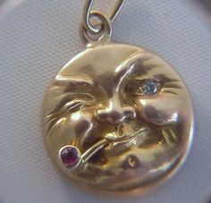 Victorian 14k Gold Winking Man in the Moon Charm with 3D Pipe