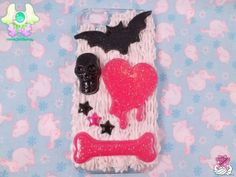 Decoden Pastel Goth Creepy Cute Case for iPhone by rarasjewels, $21.00 #kawaii #decoden #handmade #resin #phone_case #iphone_5 #creepy_cute #pastel_goth