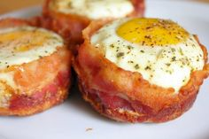 bacon and egg muffins recipe. And just incase you were thinking about doing it all in one step (placing the uncooked bacon in the tin and the raw egg) you can't. The bacon doesn't cook on the bottoms or on the insides, and it's mushy. So cook it first!