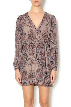 Print wrap dress with long sleeves and av-neckline.   Grey Printed Wrap Dress by honeybelle. Clothing - Dresses - Printed Clothing - Dresses - Casual Clothing - Dresses - Long Sleeve New York City Manhattan, New York City