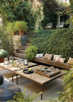 Find backyard inspiration with these 20 amazing backyard living outdoor spaces. Glean ideas for your backyard outdoor rooms and find outdoor furniture ideas for your space. Terrace Design, Outdoor Rooms, Small Backyard, Outdoor Decor, Terraced Patio Ideas, Backyard Living, Garden Seating, Outdoor Design, Garden Lighting Design