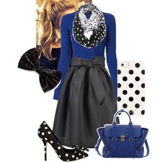 """""""Modest Polka Dot and Bow Outfit"""" by demaskducky on Polyvore"""