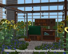 """ Various TS3Store Stones Throw Greenhouse objects converted to TS2. (+ recolours) This set includes: • 5 deco objects • 4 greenhouse roof pieces (found in the gardening section of build mode) • 1..."