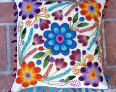 Peruvian Pillow cover Hand embroidered flowers 16 x by khuskuy